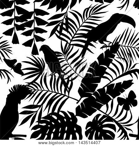Exclusive silhouette paradise tropic jungle of plants and birds. Trendy animal toucan parrot macaw butterfly and leaves of banana palm. Seamless vector pattern in black style on a white background