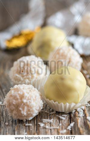 Handmade Truffles With White Chocolate.