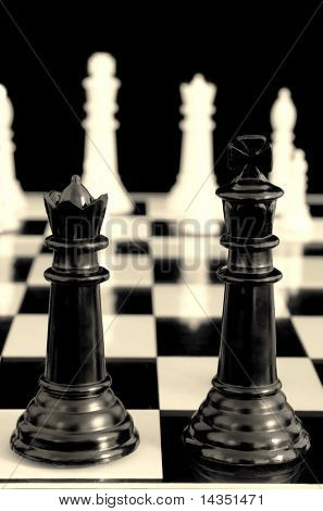 Partners ~ king and queen about to commence the chess battle.