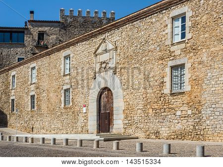 Les Aligues building university of Girona in Placa de Sant Domenec square of Gerona. Costa Brava Catalonia Spain.