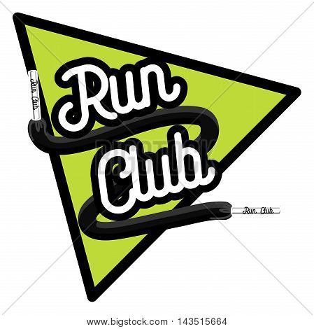 Running club logo template. Running club design elements and sport equipment icons. Color vintage run club emblem