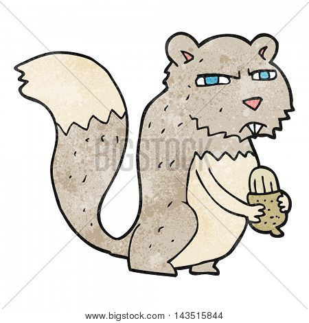 freehand textured cartoon angry squirrel with nut