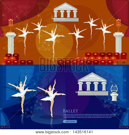 Ballet banners ballerinas dancing on theater stage vector illustration