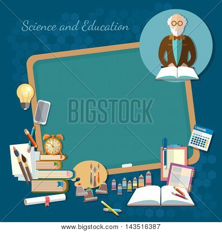 Education background infographics teacher at the school blackboard open book of knowledge effective education vector illustration