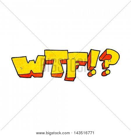 freehand textured cartoon WTF symbol
