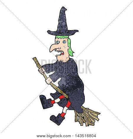 freehand textured cartoon witch flying on broom