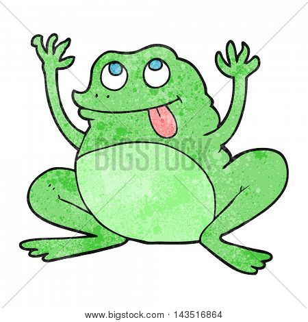 funny freehand textured cartoon frog