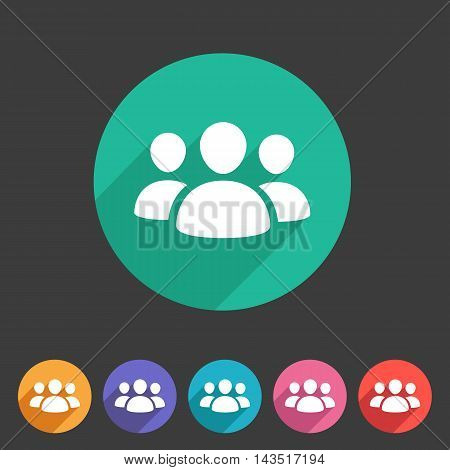 Users group social icon flat web sign symbol logo label set