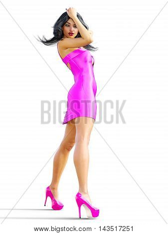 Girl brunette with long hair in short purple silk dress. Conceptual fashion art. Isolate. Studio, high key. Seductive candid pose. Sex. 3D render illustration, photorealistic image.