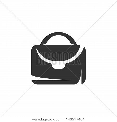 Suitcase logo silhouette design template isolated on a white background. Simple concept icon for web, mobile and infographics. Abstract symbol, sign, pictogram, illustration - stock vector