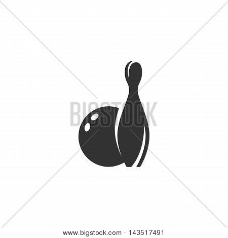 Bowling logo silhouette design template isolated on a white background. Simple concept icon for web, mobile and infographics. Abstract symbol, sign, pictogram, illustration - stock vector