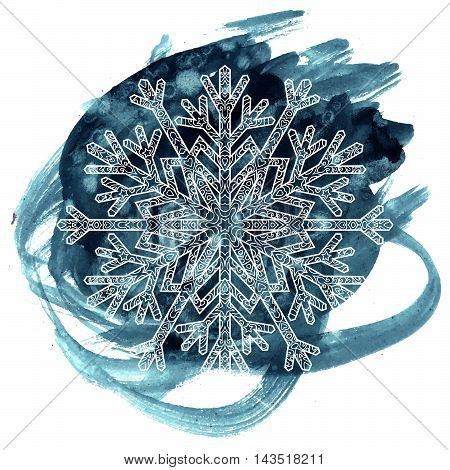 Hand drawn antistress snowflake. Template for cover, poster, t-shirt or tattoo. Winter symbol on the watercolor background. Vector illustration.