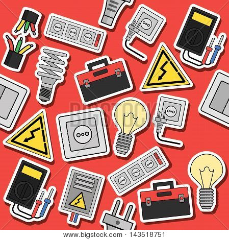 Electricity flat icons collage. Vector illustration EPS 10