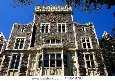 New York City - September 6 2004: Neo-gothic east front of Harris Hall on the campus of City College in upper Manhattan