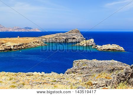 bay among rocks and mountains, Greece Rhodes