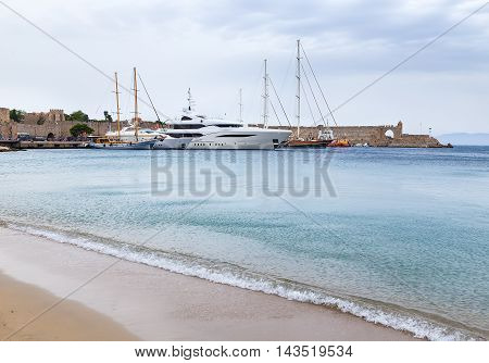 Luxury Yacht docked at Rhodes Port, Greece, summer