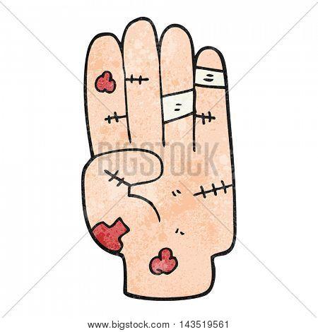 freehand textured cartoon injured hand