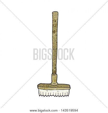freehand textured cartoon broom