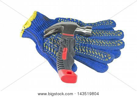 Hammer and work gloves on a white background