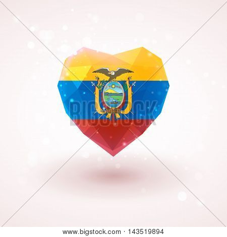 Flag of Ecuador in shape of diamond glass heart in triangulation style for info graphics, greeting card, celebration of Independence Day, printed materials