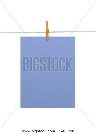 Purple-Blue Paper Sheet On A Clothes Line (+2 Clipping Paths)