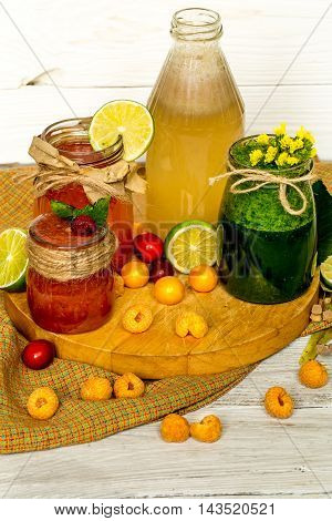 Different Smoothies In A Jar With Peach Lime