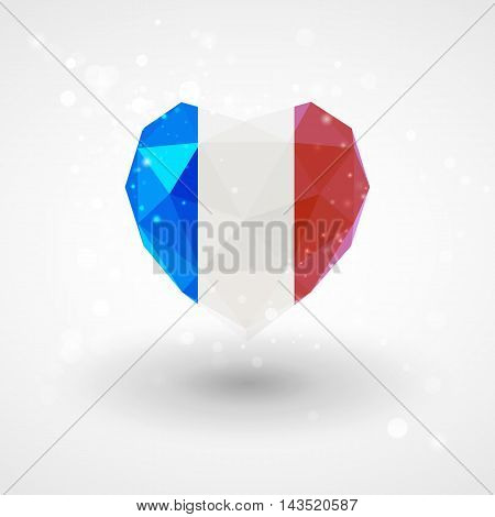 Flag of France in shape of diamond glass heart in triangulation style for info graphics, greeting card, celebration of Independence Day, printed materials