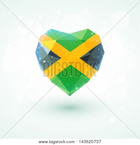 Flag of Jamaica in shape of diamond glass heart in triangulation style for info graphics, greeting card, celebration of Independence Day, printed materials