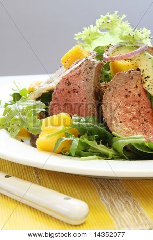 Salad of rare roast beef, mango, avocado, red onion and mixed greens.