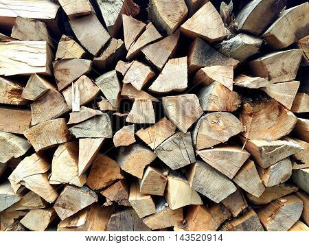 Stack of chopped wood at a traditional Romanian house
