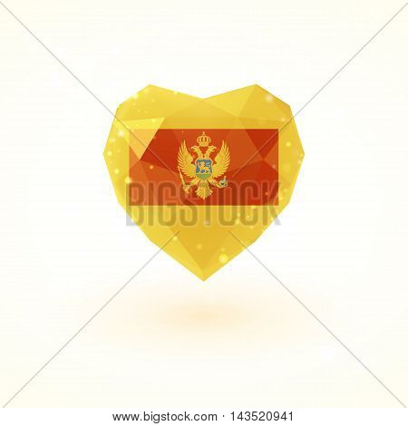 Flag of Montenegro in shape of diamond glass heart in triangulation style for info graphics, greeting card, celebration of Independence Day, printed materials