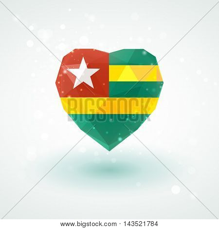Flag of Togo in shape of diamond glass heart in triangulation style for info graphics, greeting card, celebration of Independence Day, printed materials