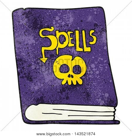 freehand textured cartoon spell book