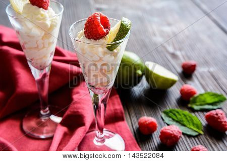 Whipped Cream With Raspberry And Lime
