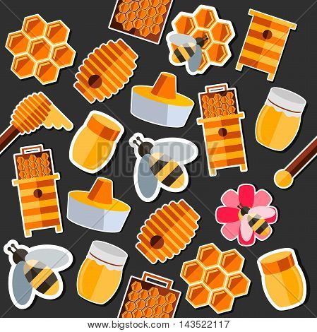 Honey flat collage. Vector illustration EPS 10