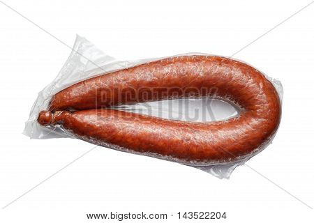 Sausages In Vacuum Pack Isolated On White Background
