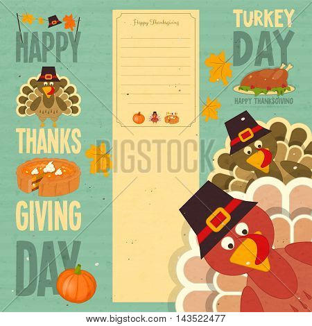 Happy Thanksgiving Card. Cartoon Turkey with Hat on Blue Vintage Background. Turkey Day Set. Vector illustration.