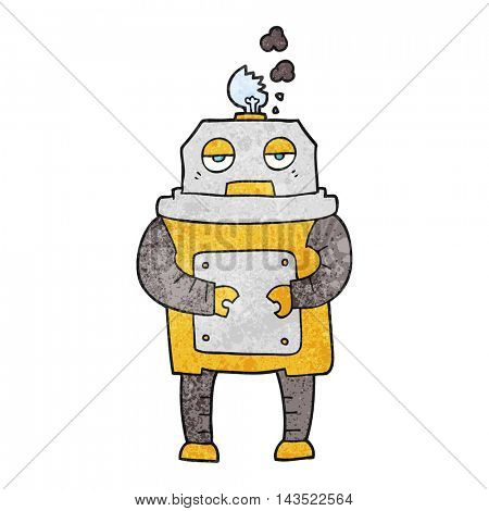 freehand textured cartoon broken robot