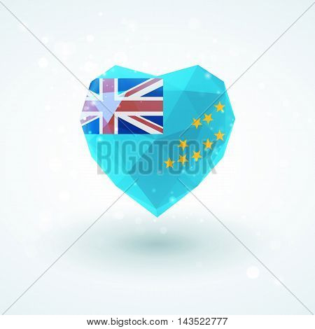 Flag of Tuvalu in shape of diamond glass heart in triangulation style for info graphics, greeting card, celebration of Independence Day, printed materials
