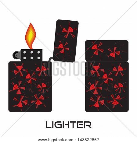 Set of lighters. Vector isolated icon of lighter with fire.