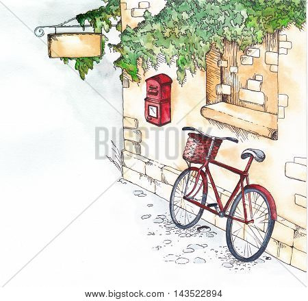 A pointer, and under it the mailbox and the bicycle.