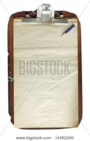 Maltratadas portapapeles de madera antigua, con trozo de lápiz y papel envejecido.