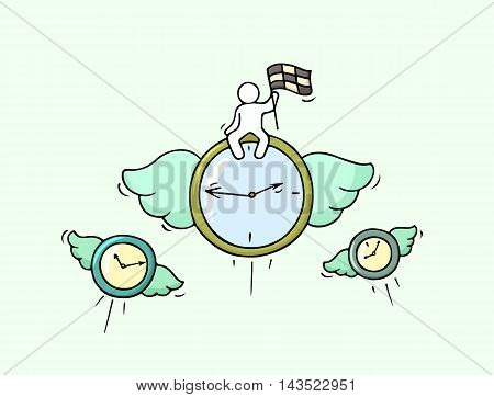 Sketch of flying clocks with little worker. Doodle cute miniature about leadership and deadline. Hand drawn cartoon vector illustration for business design.