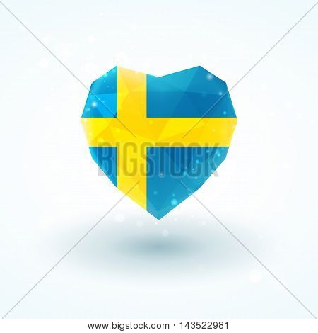 Sweden flag in shape of diamond glass heart in triangulation style for info graphics, greeting card, celebration of Independence Day, printed materials