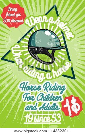 Horse riding banner. Good as a template of advertisement. Vector illustration EPS 10