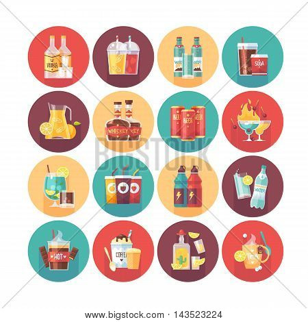 Drink and beverage icon collection. Flat vector circle icons set with long shadow. Food and drinks.