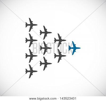 plane teamwork leader icon
