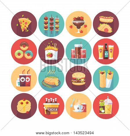 Fastfood, junk food, snack meal. Flat vector circle icons set with long shadow. Food and drinks.