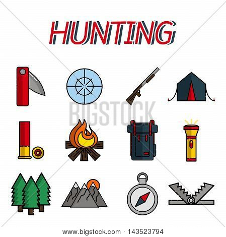 Hunting flat icons set. Vector illustration EPS 10