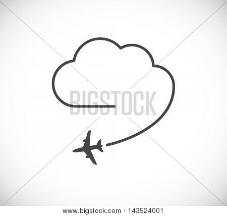 flying plane with cloud icon - design element